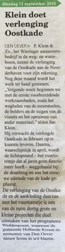 Klein doet verlenging Oostkade in Wieringer Courant 13 september 2016